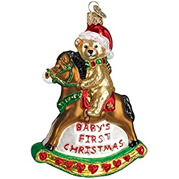 Amazon Com Old World Christmas Rocking Horse Teddy Glass