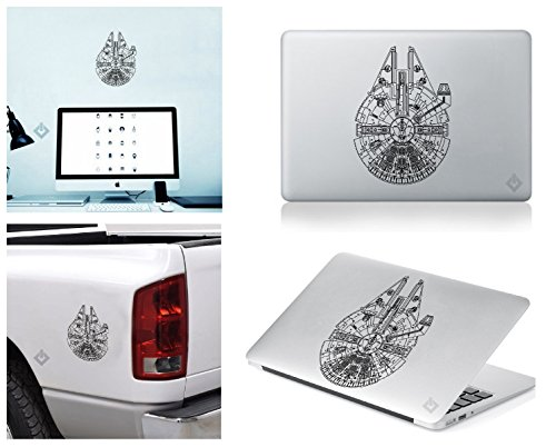 (Millennium Falcon STAR WARS Sticker Decal for Macbook, Laptop ,Car Window, Laptop, Motorcycle, Walls, Mirror and More.)