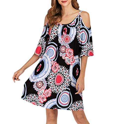 - Summer Dresses For Women Plus Size Flare Sleeves Off-The-Shoulder Fashion Element Printed Pullover Dress Labour' Day Party Cosplay Costume By Sagton (Black,S)