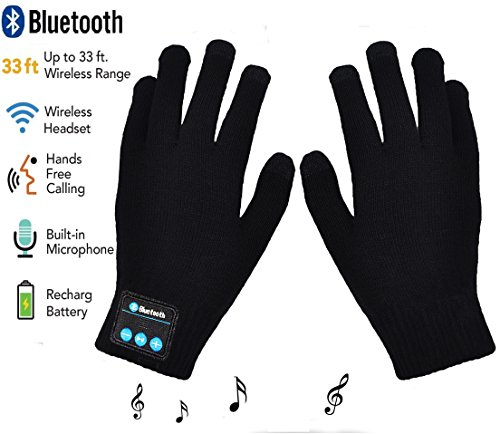 Price comparison product image Bluetooth Gloves, Wireless Bluetooth Gloves, Winter Gloves with Hands Call Talking & Music & Touch Screen Knit Warmer Gloves for Outdoor Sports, Running, Walking, Christmas Gifts (black)