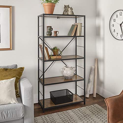 WE Furniture X-Frame Metal Wood Media Bookshelf, 63 – Multiple Colors