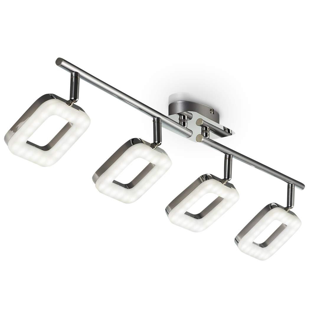 LED Ceiling Light for Bedroom, Living Room & Kitchen I Rotatable and Pivotable I Circular I Chrome Finish I Modern Desing I Warm White I 4 x 4 W LED modules I 230V I IP20 [Energy Class A+] B.K.Licht 30-03-04-C