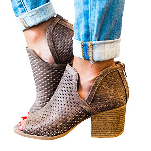 Cut Toe Peep Shoes Out (Womens Open Toe Chunky Block Heel Perforated Sandals Summer Shoes Ankle Boots)