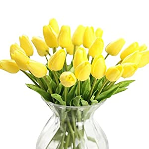 Celine lin 10 Pcs Premium Artificial Flowers Real Touch Mini PU Tulips Bouquet Artificial Flowers for Wedding Room Home Hotel Party Event Christmas Decor,Yellow 9