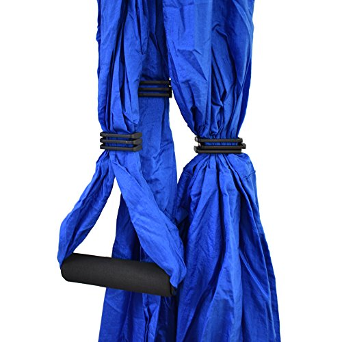 Aerial Yoga Swing - Anti-Gravity Yoga Hammock Swing Straps Inversion Tool, 2 Daisy Chain Adjustable Straps and Hooks,pose guide (Blue)