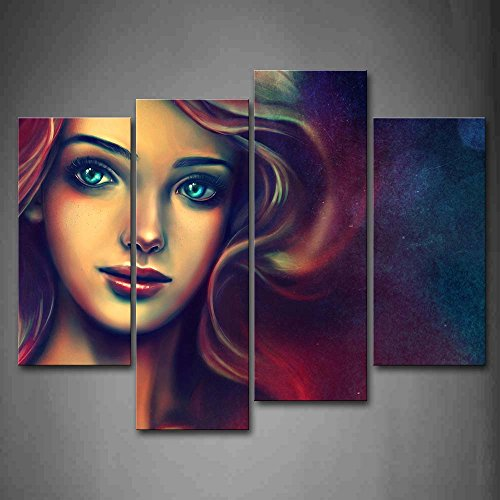 First Wall Art - A Beaty With Colorful Hair Wall Art Painting