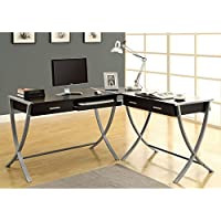 Monarch Specialties INC Cappuccino Hollow-Core / Silver Metal 3Pcs Corner Desk