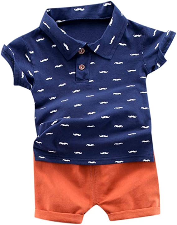Toddler Baby Kids Boys Rainbow Tops T-shirt Solid Short Pants Casual Outfits UK