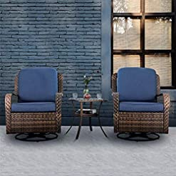Garden and Outdoor PHI VILLA Rattan Swivel Rocking Chairs 3 PC Patio Conversation Set, Outdoor Bistro Set for Lawn Garden with 2 Cushioned…