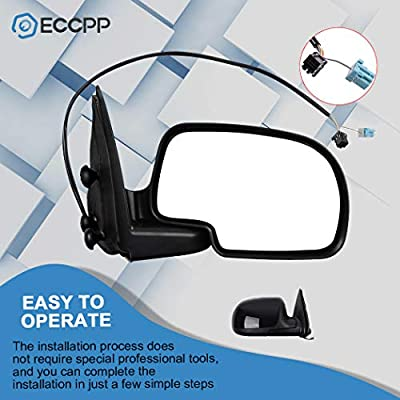 ECCPP Heated Power Black Textured Door Mirror Passenger Side Mirror Replacement fit for 2007-13 Chevy Avalanche 1500,2008-13 GMC Sierra 1500: Automotive