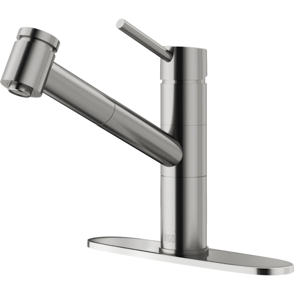 VIGO Branson Stainless Steel Pull-Out Spray Kitchen Faucet with Deck Plate by Vigo