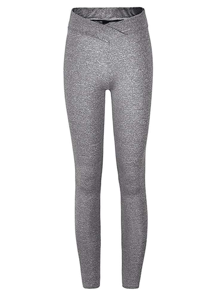 Romacci Women Sports Yoga Leggings Solid Wide Waist Sportswear Fitness Skinny Bodycon Pants Trousers
