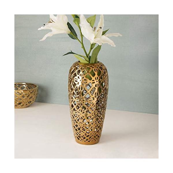 Stellar Celestial Cutwork Gold Flower Vase - Home Centre Home Decor