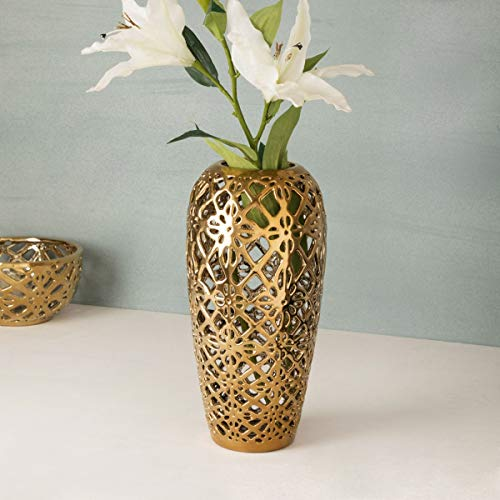 Stellar Celestial Cutwork Gold Flower Vase - Home Centre Home Decor