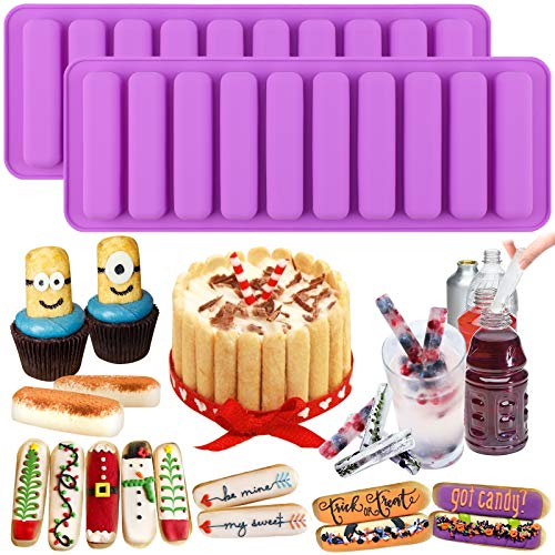 Funshowcase Rectangle Oblong Chocolate Cracker Bar Stick Block Ice Cube Jelly Tray Cylinder Silicone Candy Mold 2-Bundle Random Color