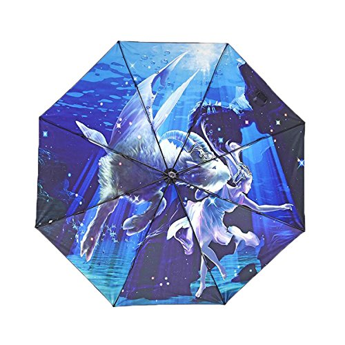Price comparison product image Century Star Anti-UV Nano Coating Folding Compact Rain Parasol Sun Umbrella Capricorn