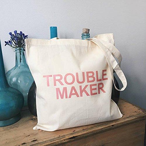 Trouble MakerトートバッグキャンバスコットンQuoteピンクテキストギフトfor Her Grocery Bag FeministメスGirlboss   B07B2SH5T5