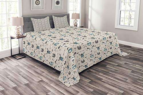 (Ambesonne Doodle Bedspread, Childish Reindeer Heads with Antlers Hipster Tiger Glasses Mustache Arrows, Decorative Quilted 3 Piece Coverlet Set with 2 Pillow Shams, Queen Size, Eggshell Teal Grey)