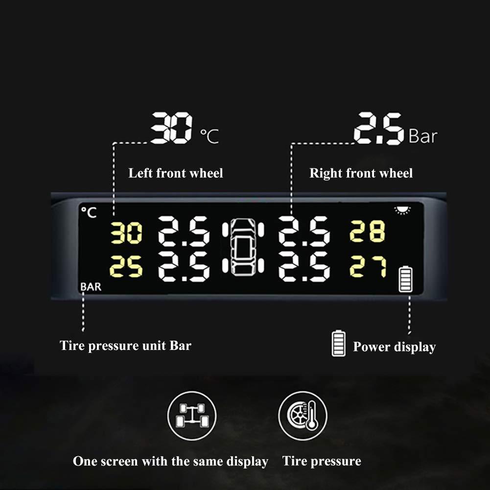 ASUD Uphig TPMS Syst/ème de Surveillance de la Pression des Pneus Manometre Pression avec Ecran LCD 4 Capteurs Externes Alimentation Solaire