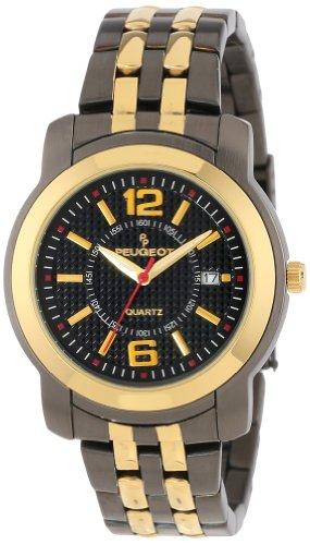 Peugeot Men's Two-tone Gold and Matte Black Link Bracelet Watch 1019G