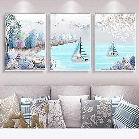 N / A Cartel de Arte gráfico de velero mediterráneo Lienzo Pintura habitación Infantil decoración de Pared sin Marco 40x60cm