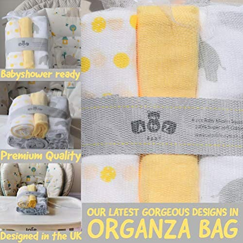 A to Z Baby 6 Pack Pretty Printed Cotton Muslin Squares 70x70 Unisex Designed in The UK Perfect Babyshower Gift Premium Quality