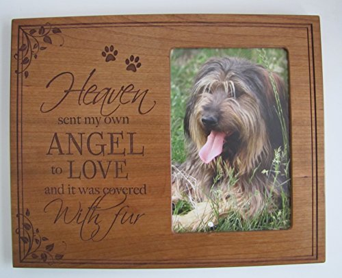 LifeSong Milestones Pet Memorial Photo Frame with Paw Prints, Sympathy Pet Picture Frame Heaven Sent My Own Angle to Love and It Was Covered in Fur 10 Inches High X 8 Inches Wide