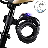 Cheap ICOCOPRO Bike Cable Lock with LED Light Easy Use in Night, Bike Lock Basic Self Coiling Resettable Combination Cable Bike Locks with Mounting Bracket-1.8m