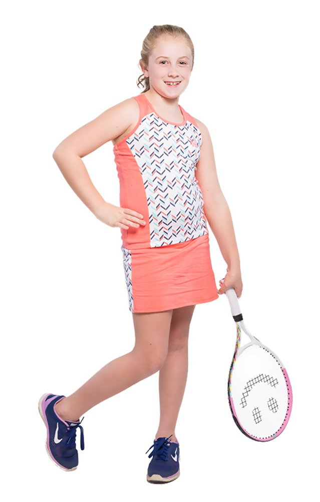 Tennis Dress Set - Sleeveless Racerback Top and Tennis Skirt with Undershorts, Coral, L(10)