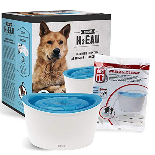 ZEUS Elevated Dog Water Dispenser, Dog Drinking Water Fountain with 4 Replacement Cartridges, Value Bundle (Packaging May Vary) ()
