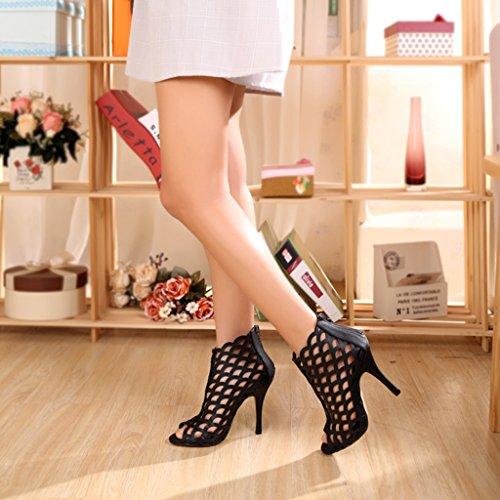 Talons Hauts de Noir 230mm Mode 10cm de à Bottes Couleur Height US5 Sandales 36 5 Chaussures 8cm Sexy 5 UK4 Height Mariage percé Taille qEp5Cc