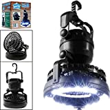 Gloous Portable LED Camping Lantern with Ceiling Fan, Outdoor Camping Lantern 2-in-1 Combo 18 Super Bright LED Light and Fan (Black (1 PC))