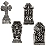 """Halloween Haunters 16.5"""" Scary Graveyard Reaper RIP Foam Tombstone Prop Decoration (Set of 4) - Realistic Aged Skull Grave Markers - Stake in Yard, Lawn, Haunted House, Cemetery Entryway Display"""
