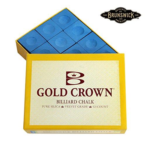 Gold Pool Cue - Brunswick Gold Crown Pool cue Billiard CHALK - 1 box of 12 pcs (Blue)