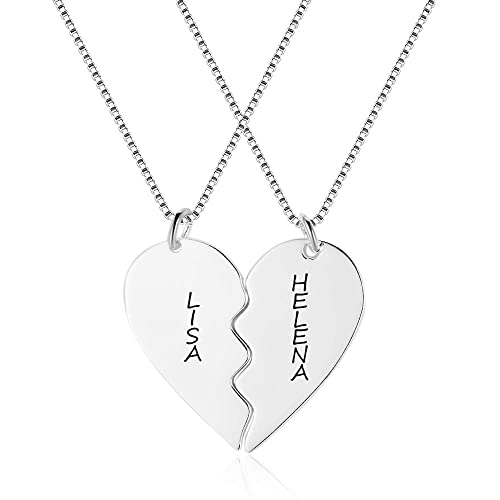 d966ed5b34fd3 Personalized Name Pendant Necklaces for Couples Custom Love Heart ...