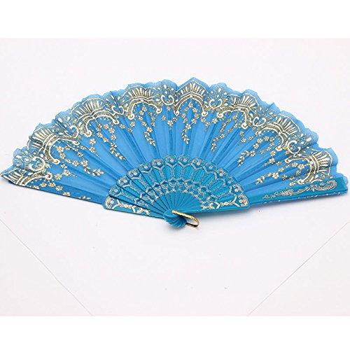 Sky Blue Spanish Style Dance Wedding Party Lace Silk Folding Hand Held Flower Fan