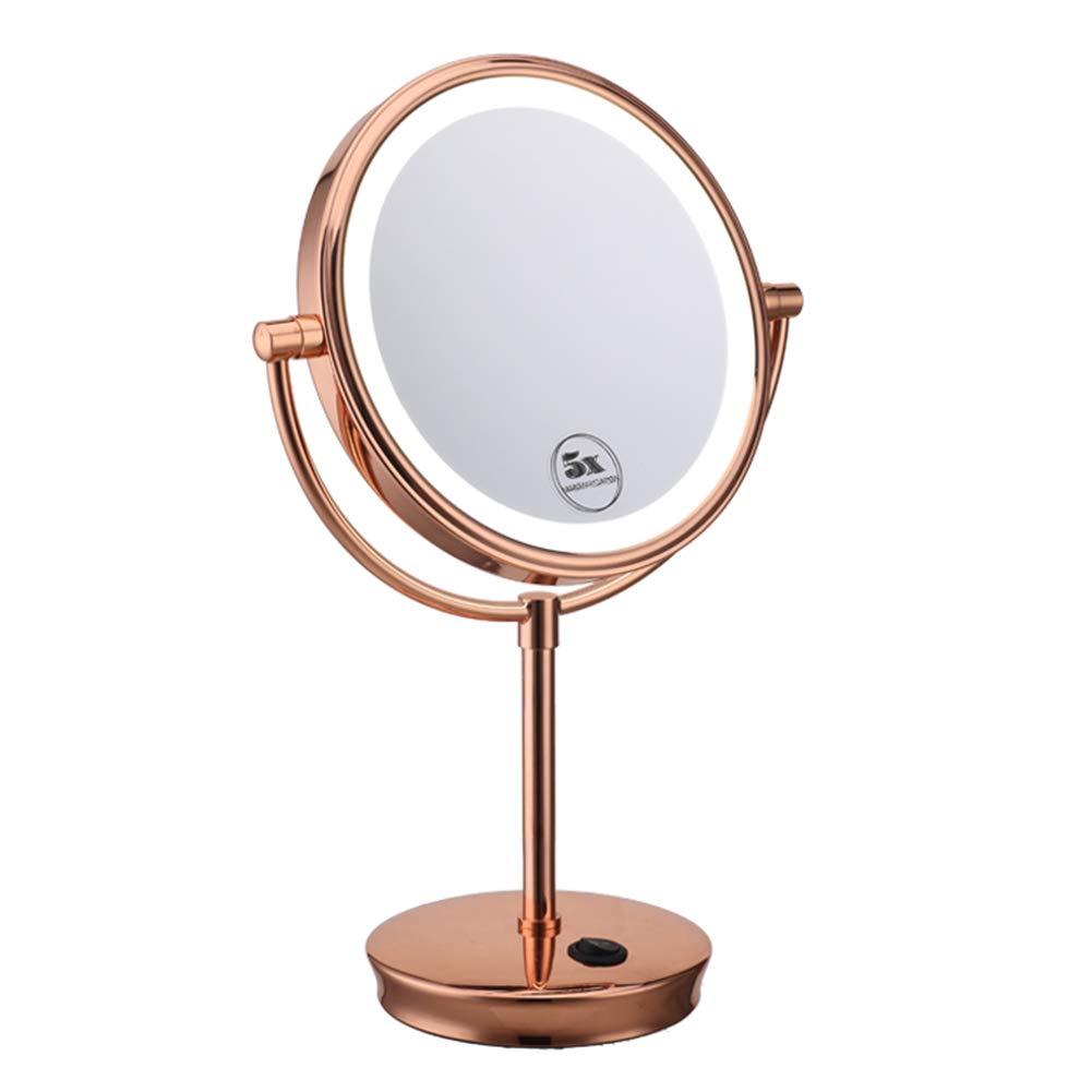 GWO Espejo De Maquillaje De Escritorio Spaire Led Vertical De Doble Cara 8 Pulgadas Normal Y 5 Aumentos 2 En 1 Espejo Giratorio 360 °