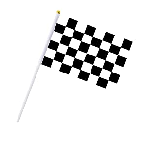 Cloud-X 30PCS Checkered Flags 8 x 5.5 Inch Racing Polyester Flags with Plastic Sticks Black & White Racing Flag for Racing, Race Car Party,Sport Events