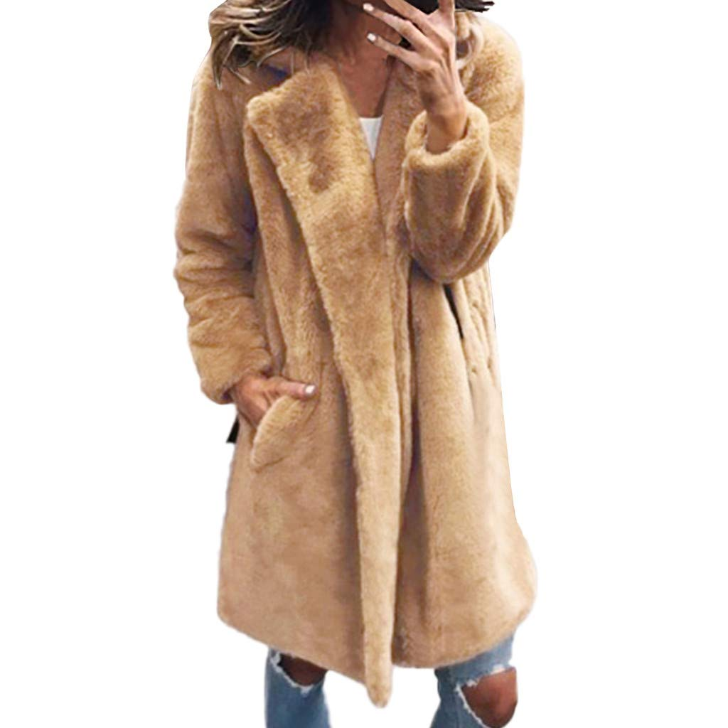 Womens Faux Fur Coat Ladies Artificial Wool Zipper Jacket Coat Winter Warm Solid Turn Down Collar Parka Outerwear Khaki by Sinzelimin