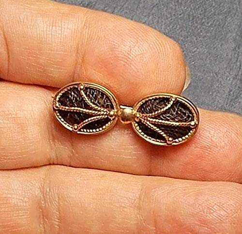 Victorian 9 kt gold marriage or mourning pin with lock of hair enclosed Names Signed on Back