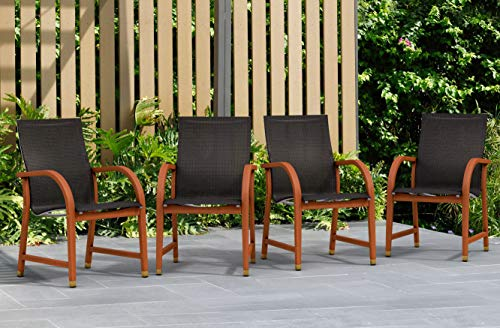 Amazonia Bahamas 4-Piece Outdoor Dining Sling Armchair Set | Eucalyptus Wood |...