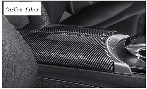HDCF Car Styling Stowing Tidying Armrest Box Protect Stickers Cover Carbon Fiber Style For GLC C Class W205 X253 Interior Auto Accessories