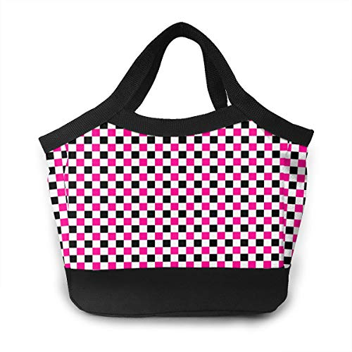 - Wldwengly Handbag Pink and Black Checkers Patterns Thermal Or Refrigerated Lunch Tote Bag
