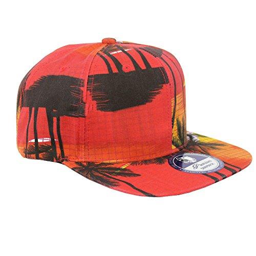 Tropical Hawaiian Palm Print Cap Snapback Flat Bill Adjustable (Red Sunset) (Hawaiian Print Sun Hat)