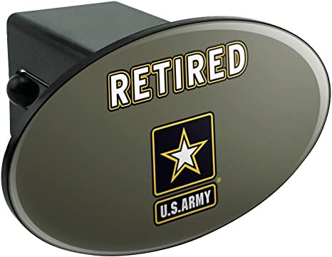 Army Retired Logo Oval Tow Trailer Hitch Cover Plug Insert Graphics and More U.S
