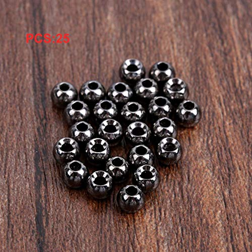 BianchiPatricia 25 Pcs Fly Tying Beads Tungsten Beads Nymph Head Ball 2//2.4//2.8//3.3//3.8//4.6mm