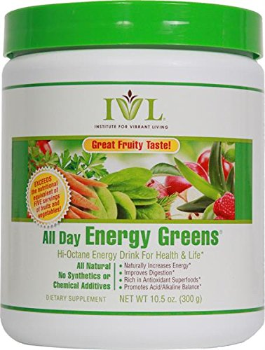 Institute for Vibrant Living All Day Energy Greens® Fruit Flavor Hi-Octane Energy Drink For Health & Life Great Fruity Taste - 10.5 oz (All Day Energy Greens Ivl compare prices)