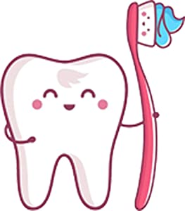 "Happy Dental Tooth and Toothbrush Emoji Cartoon Vinyl Decal Sticker (4"" Tall)"
