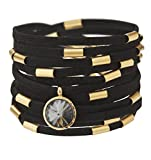 Wrap Around Black Suede Bracelet With Gold Plated Elements And A Swarovski Crystal