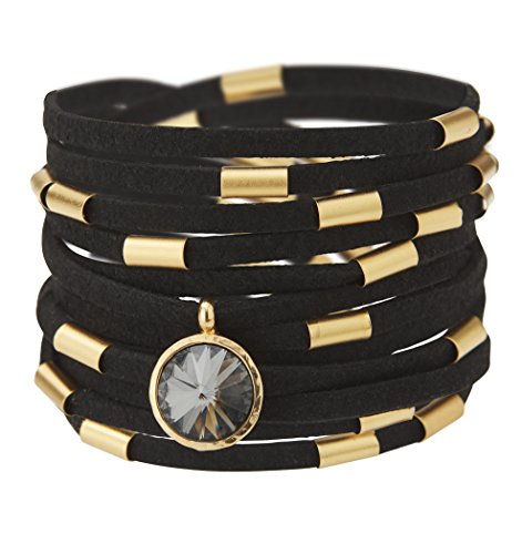 24k Double Crystal Plated Gold - SEA Smadar Dazzling Design! Handmade, Wrap Around, Black Suede Leather Bracelet Necklace With 24k Gold Plated Elements And Swarovski Crystal